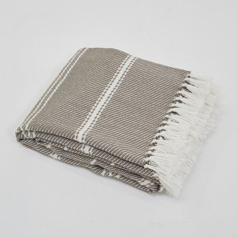 Weaver Green Blanket throw ~ Oxford stripe - Monsoon 230 x 130cm 100% recycled plastic with soft texture