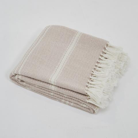 Blanket throw ~ Oxford stripe - Shell - beautiful soft colour eco friendly