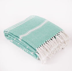 Weaver Green Blanket throw ~ Oxford stripe - Aqua - striking colour 100% recycled