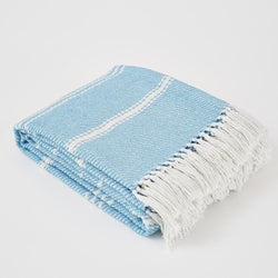 Weaver Green Blanket throw ~ Oxford stripe - Azure - striking colour 100% recycled