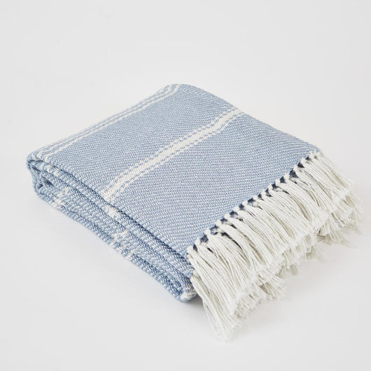 Weaver Green Blanket throw ~ Oxford stripe - Lavender - striking colour 100% recycled