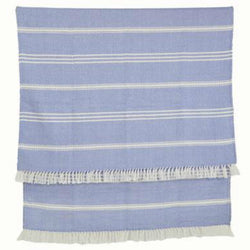 Blanket throw ~ Oxford stripe - Cobalt - 100% recylced plastic bottles and ethically produced