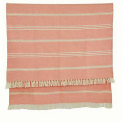 Blanket throw ~ Oxford stripe - Coral - striking colour 100% recycled