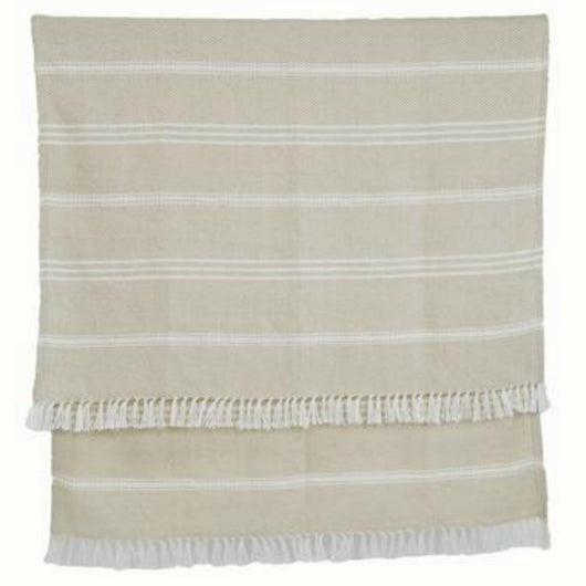 Blanket throw ~ Oxford stripe - Linen - classic design, colour and 100% recycled
