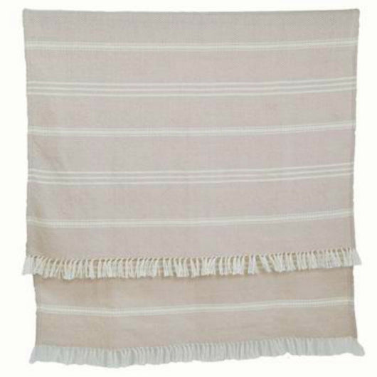 Blanket throw ~ Oxford stripe - Shell - beautiful soft colour 100% recycled