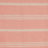 Blanket throw ~ Oxford stripe - Coral - close up picture striking colour 100% recycled