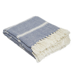 Oxford stripe throw - Navy - striking colour 100% recycled