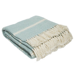Oxford stripe throw - Teal - beautiful colour 100% recycled