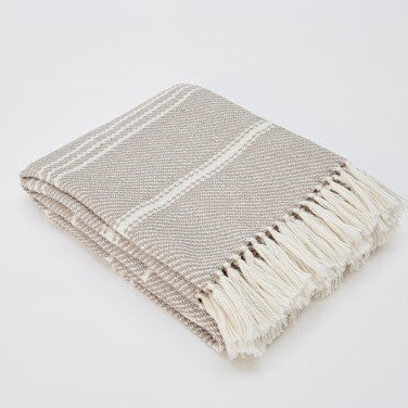 Weaver Green Blanket throw ~ Oxford stripe - Chinchilla - striking colour 100% recycled