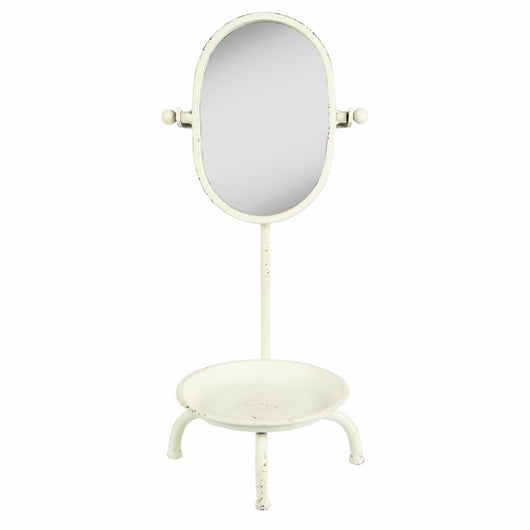 Mirror with dish vintage boudoir display rustic cream