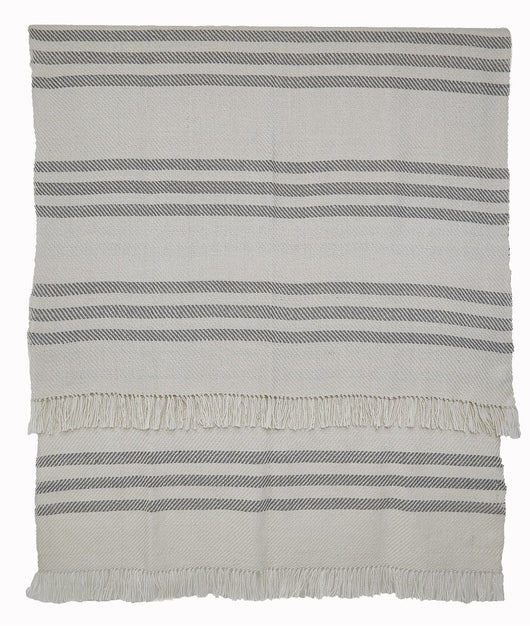 Blanket throw ~ Striped - Dove Grey - indoor/outdoor waterproof textiles