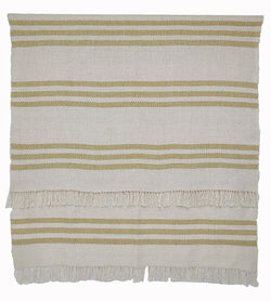 Blanket throw ~ Striped - Gooseberry/white - clean crisp colourway