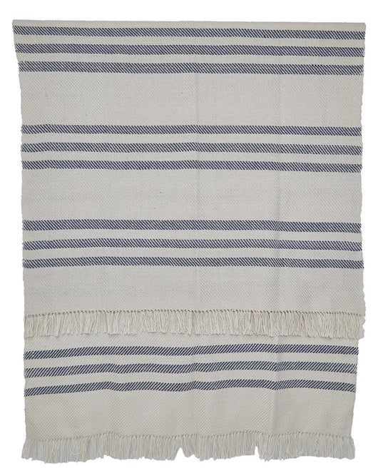 Blanket throw ~ Striped - Navy/white - waterproof seafaring accessory