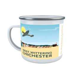 Mug ~ enamel mug West Wittering design Spitfire and beach huts
