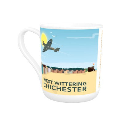 Mug ~ bone china West Wittering design iconic Spitfire and beach huts