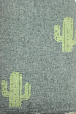 Throw ~ CTF01 Cactus design cotton blanket with fleece backing 170 x 130cm