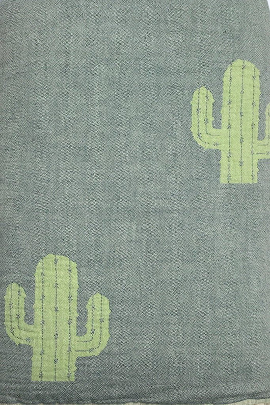 Fleece Throw ~ CTF01 Cactus design cotton blanket with fleece backing 170 x 130cm