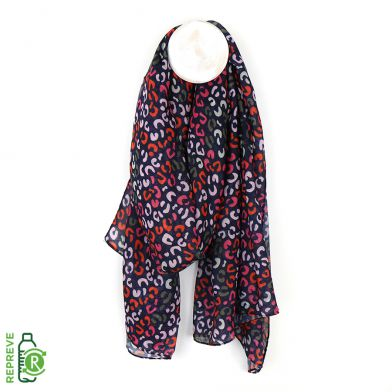 Scarf ~ 51551 POM Recycled yarn animal print in Navy Red/Pink mix scarf
