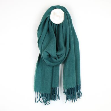Scarf ~ 51583 POM Recycled yarn Teal soft touch fringed scarf