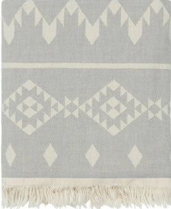 Fleece Throw ~  GHT05 Dakota light grey geometric pattern cotton throw with fleece backing