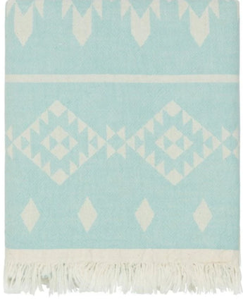 Fleece Throw ~  Dakota Mint geometric pattern cotton throw with fleece backing