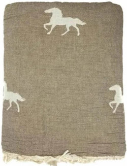 Fleece Throw ~ HTF02 Horse design Brown cotton blanket with fleece backing 170 x 130cm