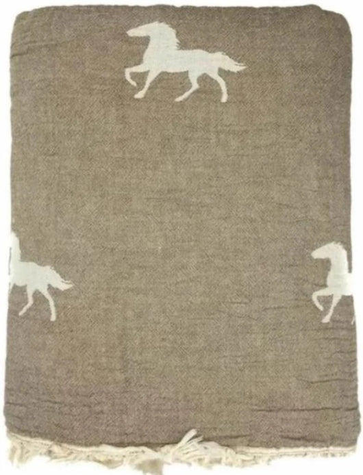 Throw ~ HTF02 Horse design Brown cotton blanket with fleece backing 170 x 130cm