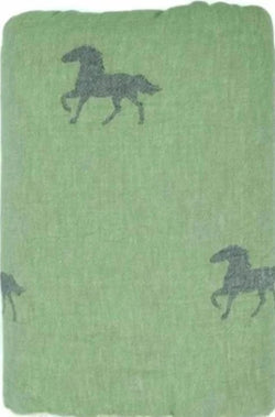 Fleece Throw ~ HTF01 Horse design Green cotton blanket with fleece backing 170 x 130cm
