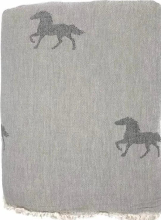 Fleece Throw ~ HTF03 Horse design Natural grey cotton blanket with fleece backing 170 x 130cm