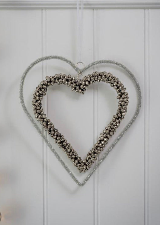 Hanging decoration ~ 17AW21  - Double bead/bell Hearts 25cm