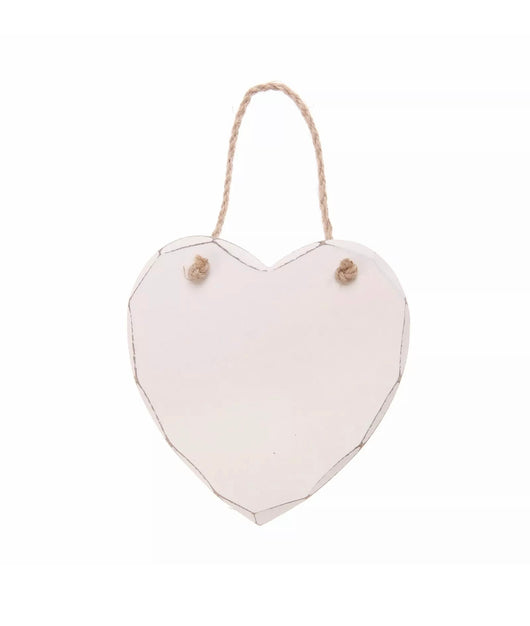 Hanging decoration ~ HEART179 Plain white wooden hanging heart
