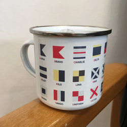 Enamel Mug ~ International Maritime Signal Flags Alphabet