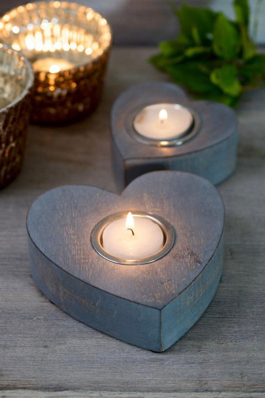 Hanging decoration ~ 11AW11 Pair of Grey heart tea lights