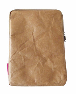 iPad cover ~ case with tan zip Original brown paper design fun and lightweight