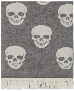 Fleece Throw ~  SKTF01 Skull pattern cotton throw with fleece backing