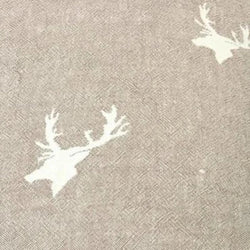 Fleece Throw ~ Stag design Taupe cotton blanket with fleece backing 130 x 170cm