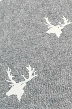 Throw ~ STGF02 Stag design grey cotton blanket with fleece backing 130 x 170cm
