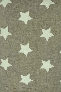 Throw ~ STF09 Stars design Brown cotton blanket with fleece backing 170 x 130cm