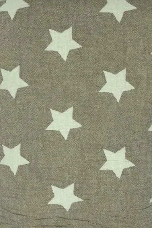 Fleece Throw ~ STF09 Stars design Brown cotton blanket with fleece backing 170 x 120cm