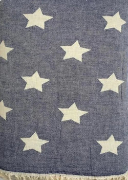 Throw ~ STF07 Stars design Navy cotton blanket with fleece backing 170 x 130cm