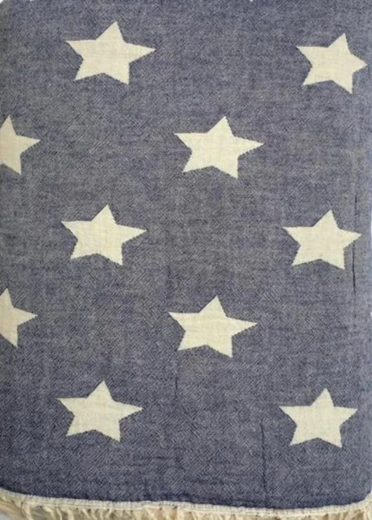 Throw ~ Stars design Navy cotton blanket with fleece backing 170 x 130cm