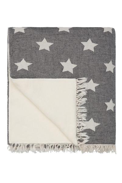 Throw ~ Stars design Black cotton blanket with fleece backing 170 x 130cm
