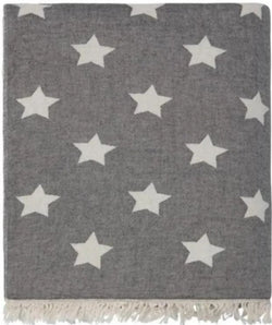 Throw ~ STF01 Stars design Black cotton blanket with fleece backing 170 x 130cm