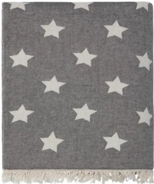 Fleece Throw ~ STF01 Stars design Black cotton blanket with fleece backing 170 x 120cm