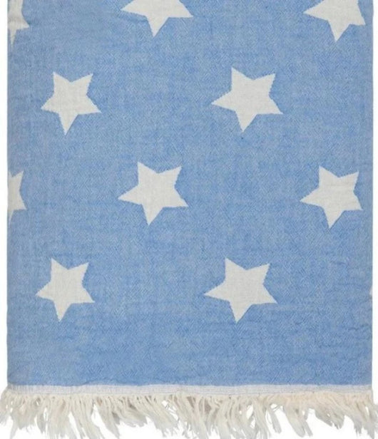 Stars design Blue cotton blanket with fleece backing 170 x 120cm