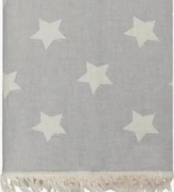 Fleece Throw ~ Stars Grey cotton blanket with fleece backing 170 x 130cm