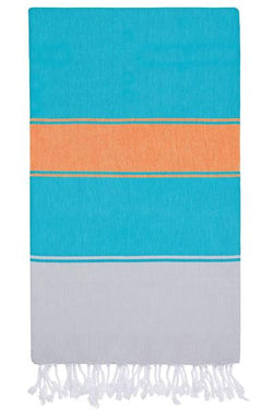 Towel ~ TLP02 Talia Hamam towel & bag Marine/Melon lightweight and compact