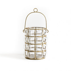 Lantern ~ Glass Lantern with Gold Cage hand-blown
