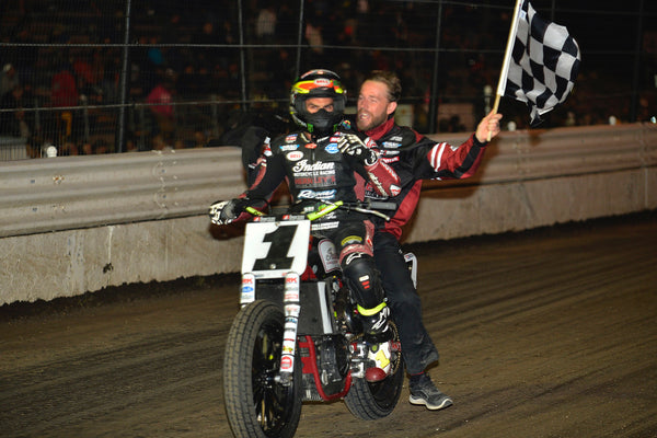 Jared Mees celebrates Calistoga win
