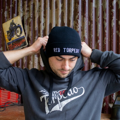 Red Torpedo Lightning Bolt Black Beanie